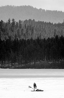 Lake, Ice Fishing, Black And White, Ice, Mountains