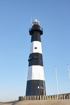 Lighthouse, Sky, North Sea, Holland, Netherlands