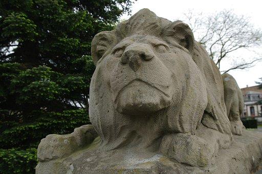 Lion, Sculpture, Lion Lying, Limestone, Tawny, Art
