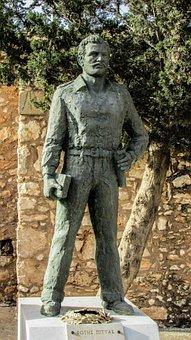 Cyprus, Liopetri, Achyronas, Statue, Hero, Landmark