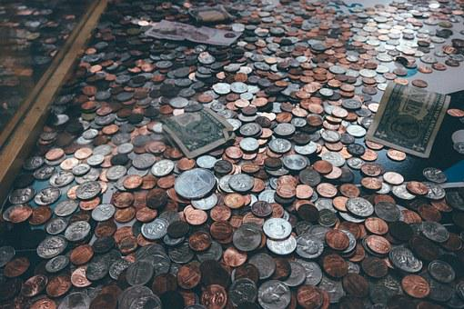 Coins, Pennies, Dollars, Money, Donation, Business