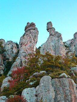 Rock, Limestone, Conglomerate, Montsant, Autumn