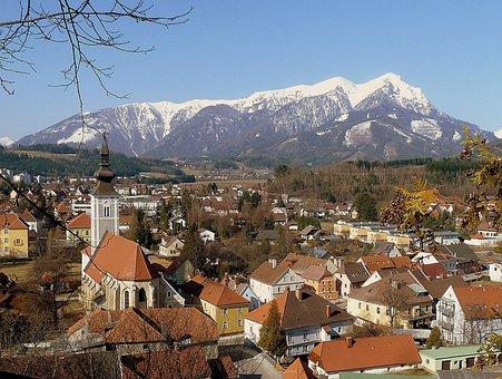 Trofaiach, Austria, Landscape, Mountains, Snow, Sky