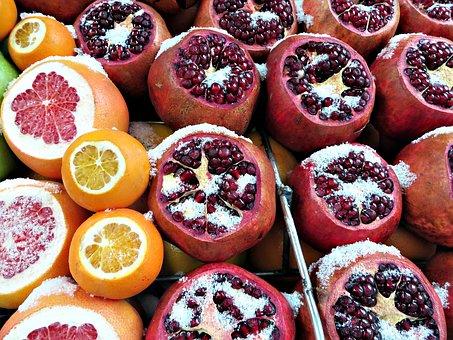 Fruit, Snow, Istanbul, Winter, Pomegranate, Grapefruit