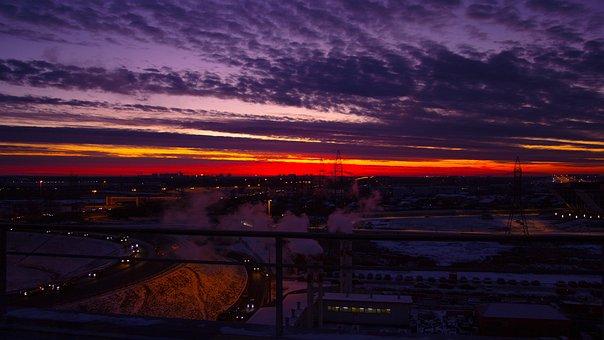 Winter Sunset, Moscow, Russia, Rumyantsevo, Horizon