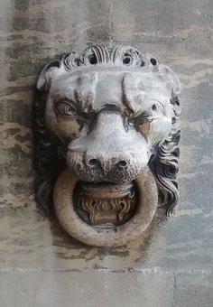 Stone Carving, Lion, Lion's Head, Sandstone, Sculpture