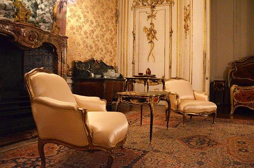 Castle, Sanssouci, Baroque, Chair, Living Room