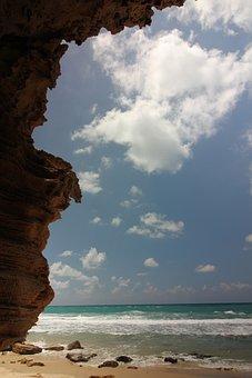 Blue, Sky, Clouds, Sea, Ocean, Seashore, Waves, Beach