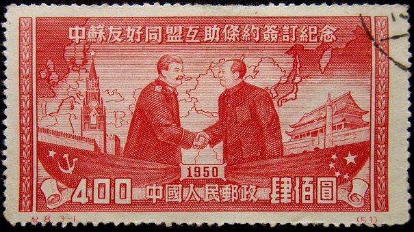 Stamp, Shaking Hands, Handshake, Chinese, Joseph Stalin