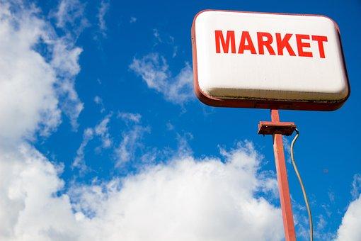 Signboard, Sky, Shop, Market, Clouds, Red Lettering
