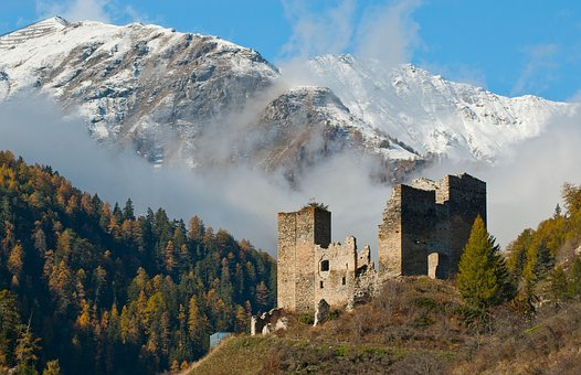 Castle, Ruins, Mountains, Snow, Forest, Trees, Woods