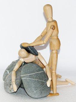 Wooden Figures, Stones, Plunge, Help, Helplessness