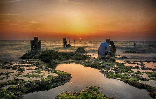 Sunset, Dusk, Sky, Clouds, Sea, Ocean, Seashore, Waves