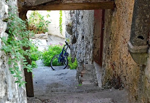 Old Town, Scalea, Alley, Stairs, Bicycle, Old Houses