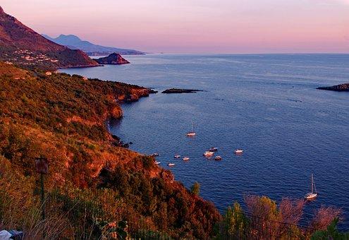 Sunset, Red Sky At Night, Sea, Maratea, Basilicata