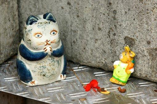 Cat, Hare, Deco, Figure, Art, Supplement