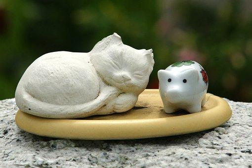 Cat, Pig, Deco, Decoration, Figure, Nippes