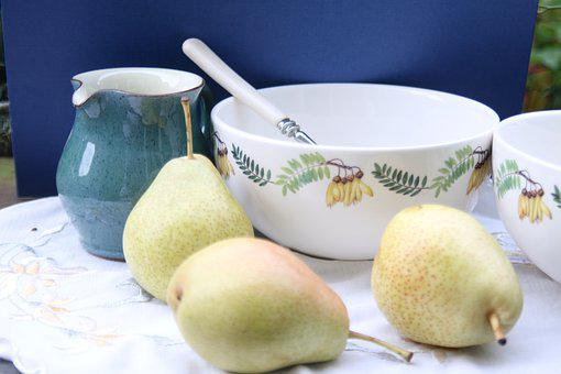Pears, Fruit, Summer, Garden Al Fresco, Jug, Bowls