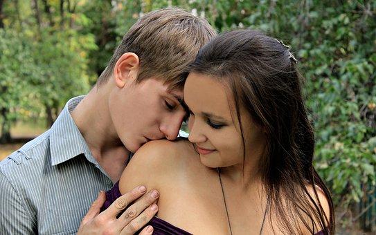 Girl, Guy, Kiss, Shoulder, Boy, Man, Woman, Tenderness