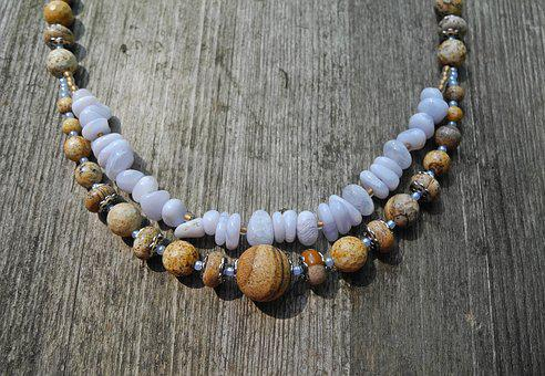 Necklace, Jewelry, Mineral, Kalcedon, Jasper, Beading
