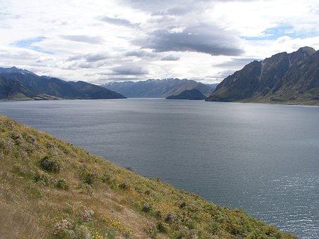 New, Zealand, Lake Hawea, New Zealand, Nature, Mountain