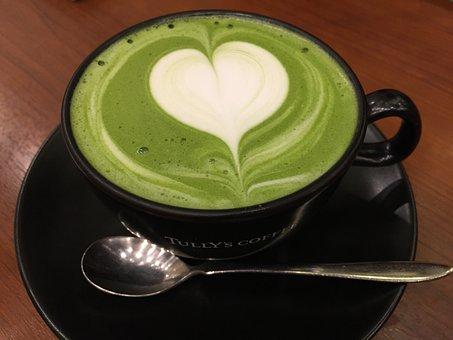 Matcha Green Tea, Latté, Heart