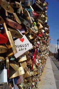 Love, Key, Lock, Bridge, France, Happy, Couple, Heart