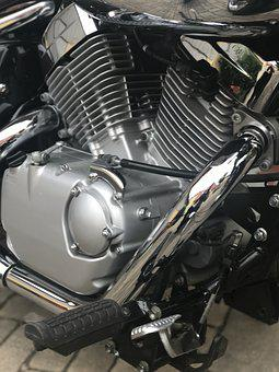 Motor, 2 Cylinder, Suzuki, Technology, Close Up, Chrome