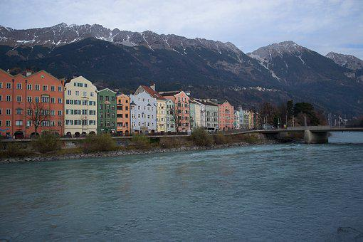 Innsbruck, Tyrol, River, Mountains, Snow, Houses