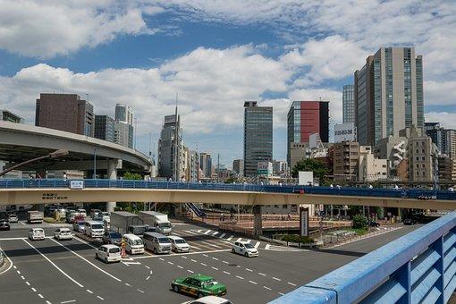 Skyline, Skyscrapers, Junction, Tokyo, Road, Transfer