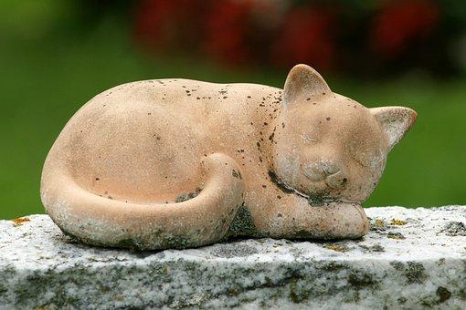 Cat, Lying Cat, Stone, Art, Figure, Sculpture