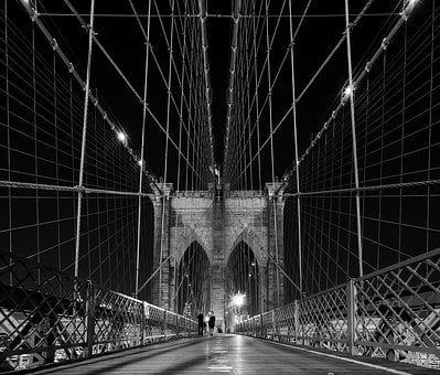 Brooklyn Bridge, New York City, Architecture, Night