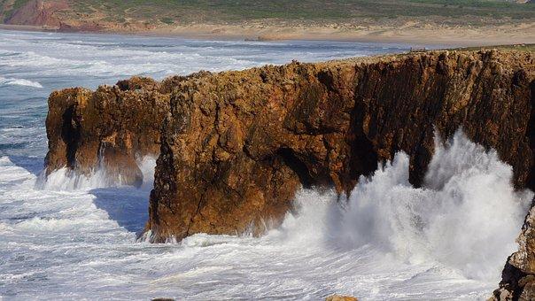 Algarve, Coast, Sea, Spray, Wave, Atlantic, Rocky Coast