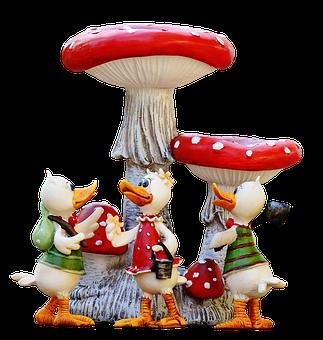 Ducks, Funny, Group, Mushrooms, Cute, Art Stone, Figure