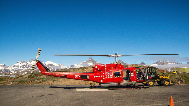 Helicopter, Red, Helipad, Flight, Transport, Travel