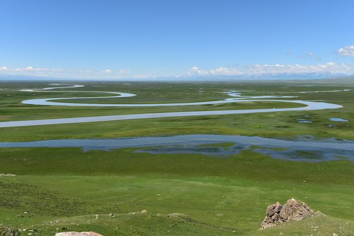 In Xinjiang, Palestinian Sound Brook, River, Prairie