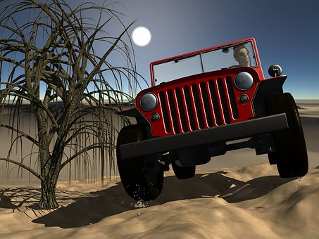 Jeep, Desert, Landscape, Tree, Jeep Safari, Travel