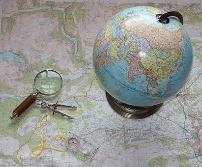 Map, Travel, Compass, Magnifying Glass, Orienteering