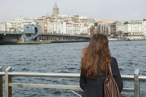Woman, Single, Only, Landscape, Marine, Istanbul