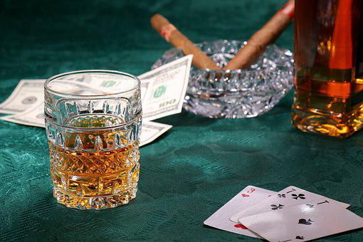 Cards, Money, Whiskey, Cigars, Threesome, Seven, Ace
