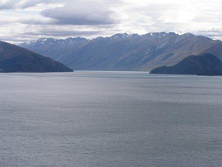 New Zealand, New, Zealand, Lake Hawea, Nature