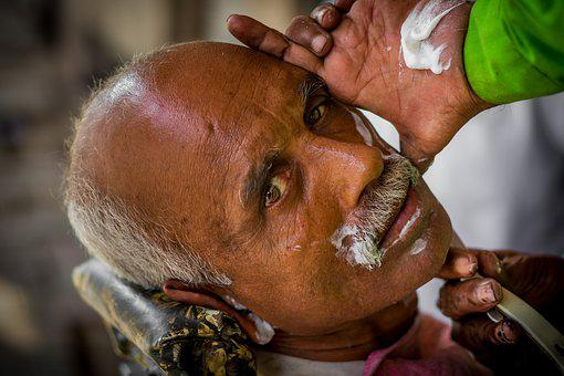 Man, Street, Shave, India, City, Person, Clothing
