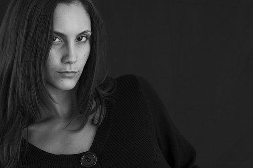 Woman, Portrait, Black And White, Human, Model, Face