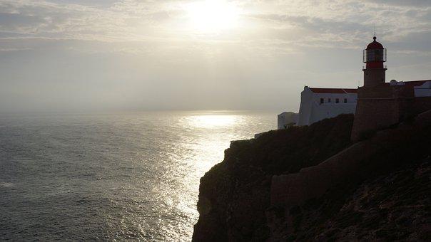 Algarve, Coast, Lighthouse, Sunset, Portugal