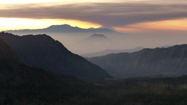 Indonesia, Java, Volcano, Rash, Landscape, Panorama