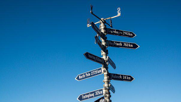 Sign, Arctic, Greenland, North Pole, Signpost, Distance