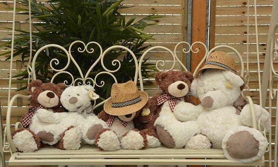 Bear Plush Toys, Sitting, Bench, Glider Teddy Bear