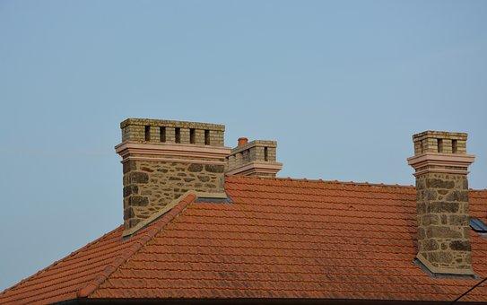 Fireplaces, Stones, Bricks, Roof Tiles, House, Smoke