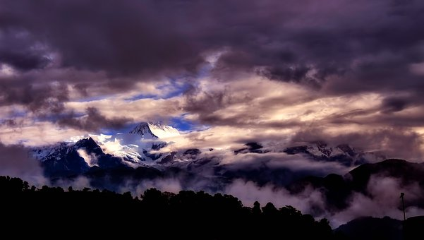 Panorama, Nepal, Mountains, Landscape, Snow, Peaks, Sky