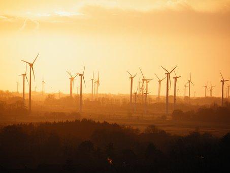 Wind Power Plants, Fog, Sun, Ecology, Wind Energy
